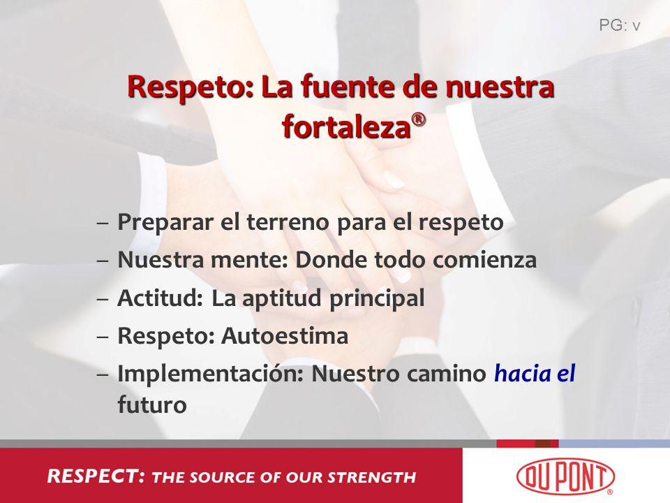 Respeto: La fuente de nuestra fortaleza ® –Preparar el terreno para el respeto –Nuestra mente: Donde todo comienza –Actitud: La aptitud principal –Res