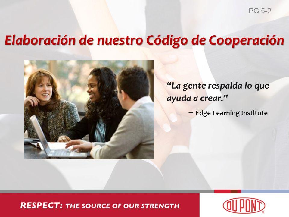 La gente respalda lo que ayuda a crear. – Edge Learning Institute Elaboración de nuestro Código de Cooperación PG 5-2