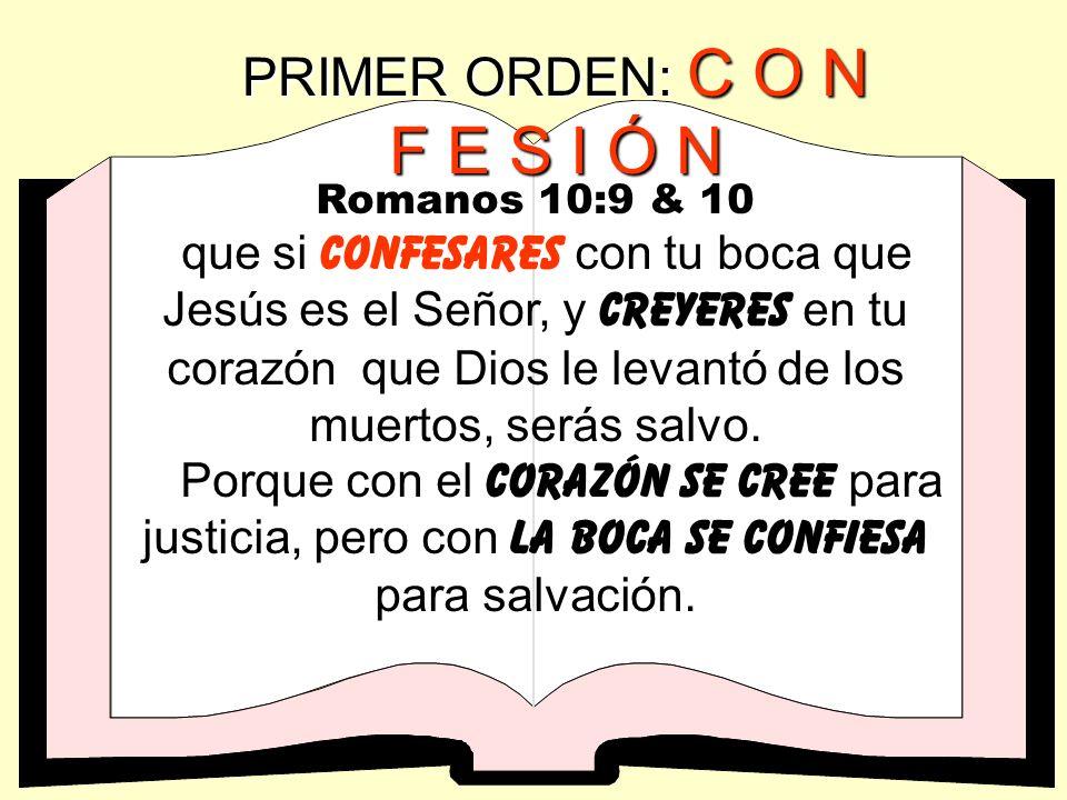 PRIMER ORDEN: C O N F E S I Ó N Juan 1:12 Mas a todos los que le recibieron, a los que creen en su nombre, les dio potestad de ser hechos hijos de Dio