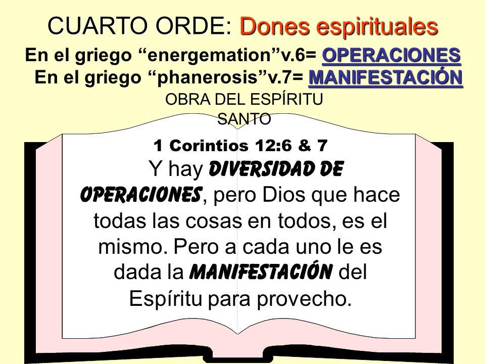 CUARTO ORDEN: Dones espirituales 1 Corintios 12:5 ministERIOS Y hay DIVERSIDAD DE ministERIOS, pero el Señor es el mismo.. OPORTUNIDADES PARA MINISTER