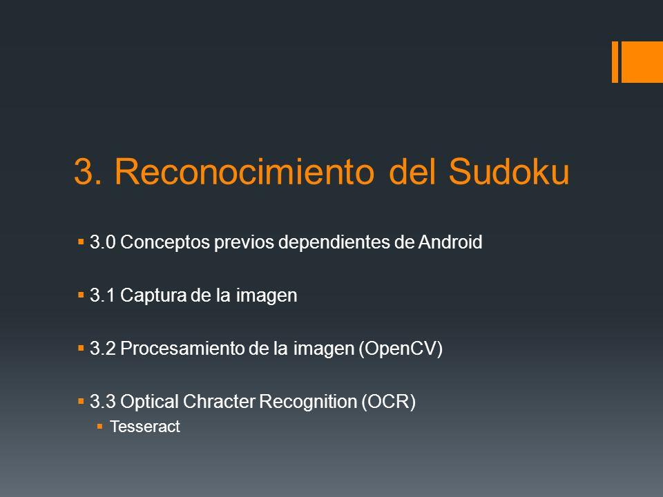 3. Reconocimiento del Sudoku 3.0 Conceptos previos dependientes de Android 3.1 Captura de la imagen 3.2 Procesamiento de la imagen (OpenCV) 3.3 Optica