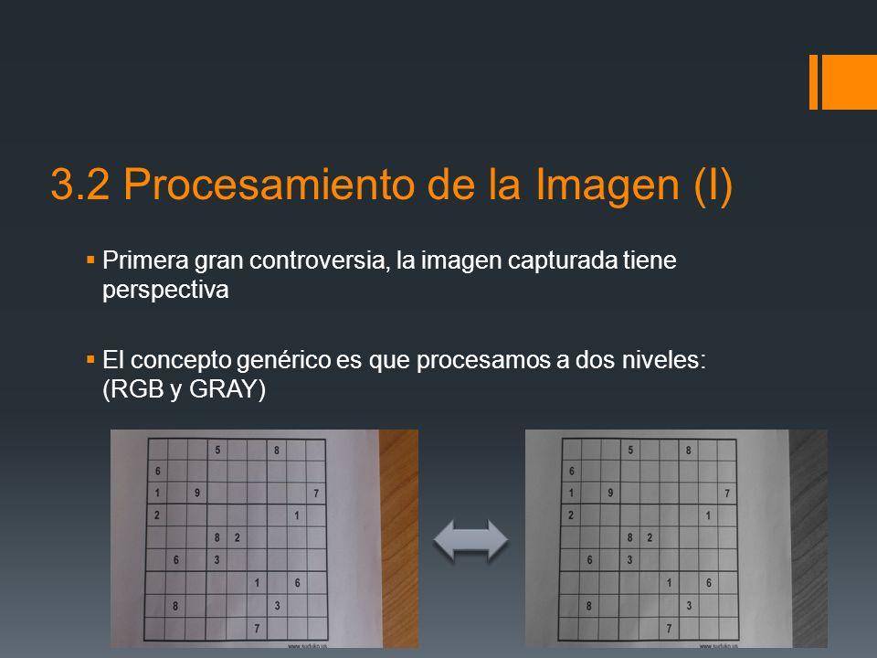 3.2 Procesamiento de la Imagen (I) Primera gran controversia, la imagen capturada tiene perspectiva El concepto genérico es que procesamos a dos nivel