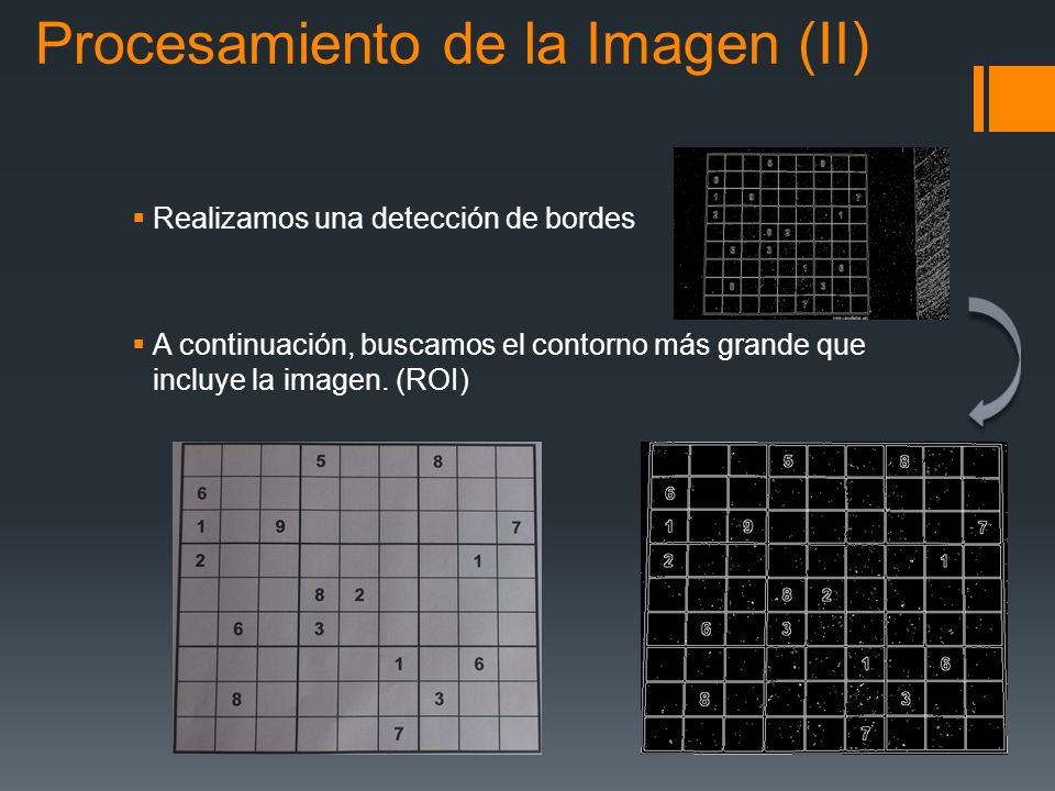 Realizamos una detección de bordes A continuación, buscamos el contorno más grande que incluye la imagen. (ROI) Procesamiento de la Imagen (II)