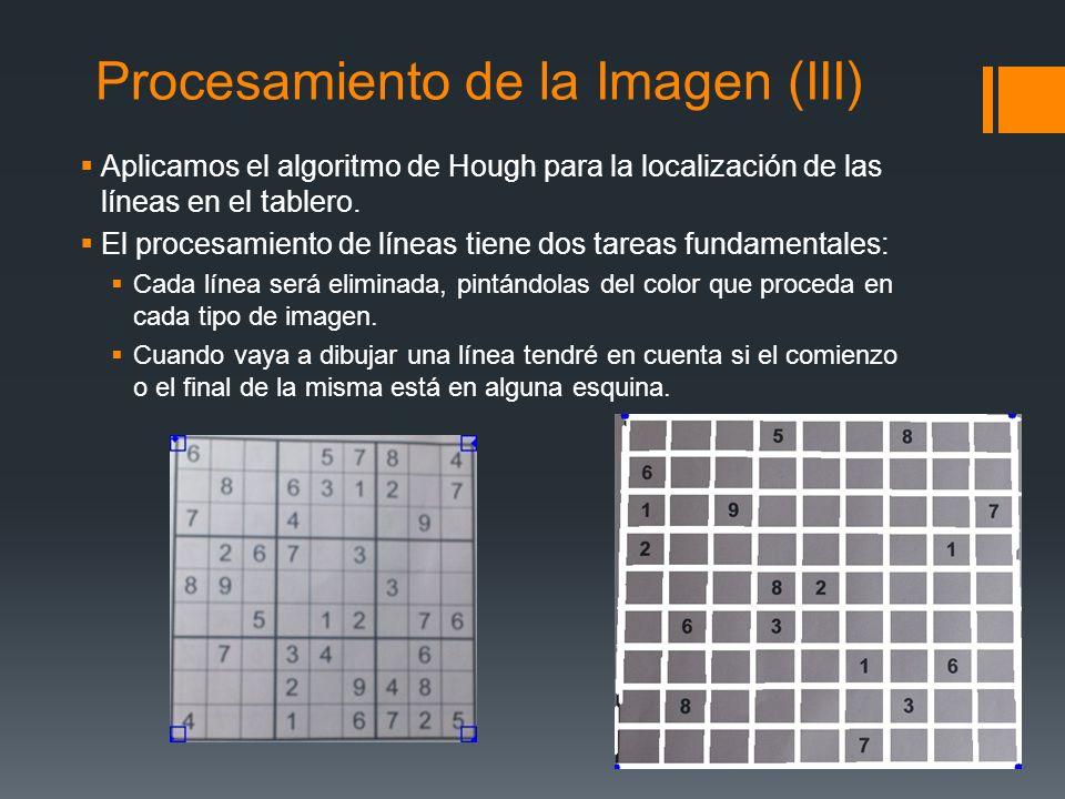 Procesamiento de la Imagen (III) Aplicamos el algoritmo de Hough para la localización de las líneas en el tablero. El procesamiento de líneas tiene do