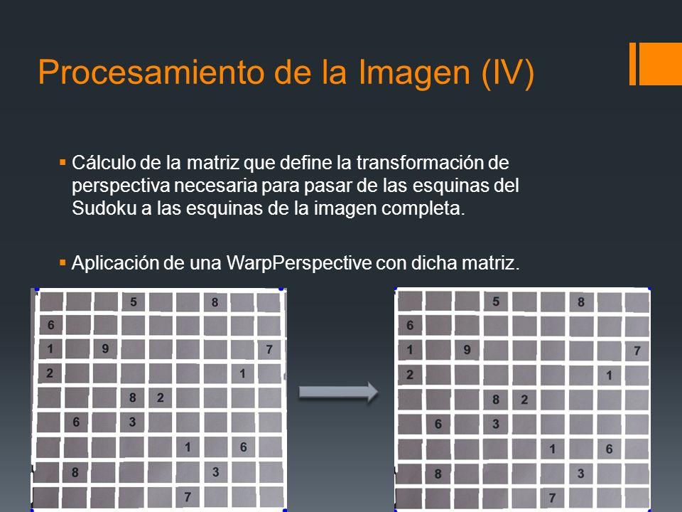 Procesamiento de la Imagen (IV) Cálculo de la matriz que define la transformación de perspectiva necesaria para pasar de las esquinas del Sudoku a las