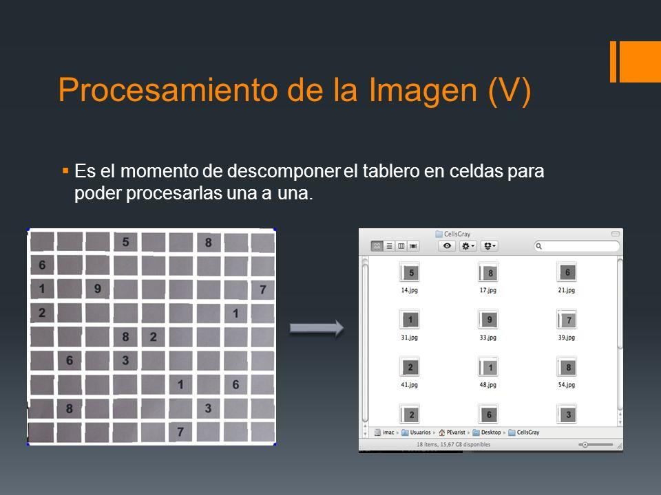 Procesamiento de la Imagen (V) Es el momento de descomponer el tablero en celdas para poder procesarlas una a una.