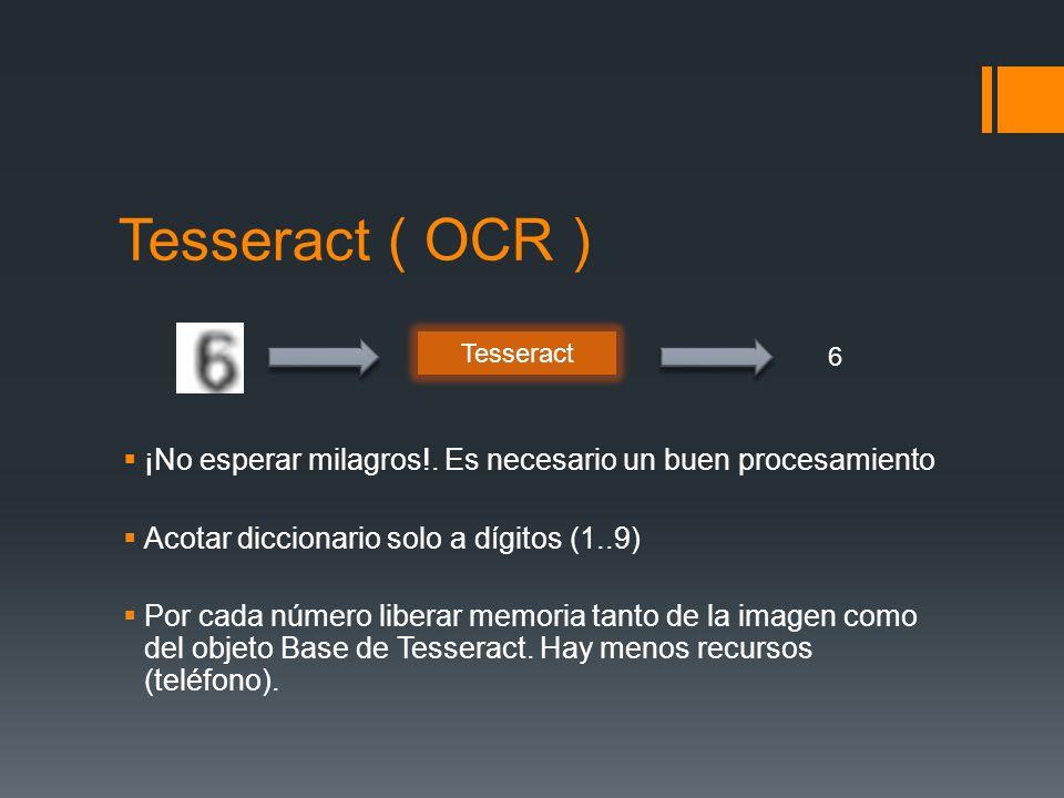 Tesseract ( OCR ) ¡No esperar milagros!. Es necesario un buen procesamiento Acotar diccionario solo a dígitos (1..9) Por cada número liberar memoria t