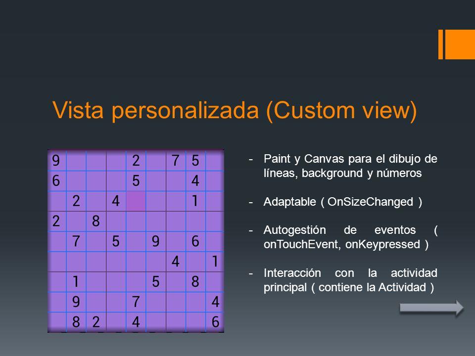 Vista personalizada (Custom view) -Paint y Canvas para el dibujo de líneas, background y números -Adaptable ( OnSizeChanged ) -Autogestión de eventos