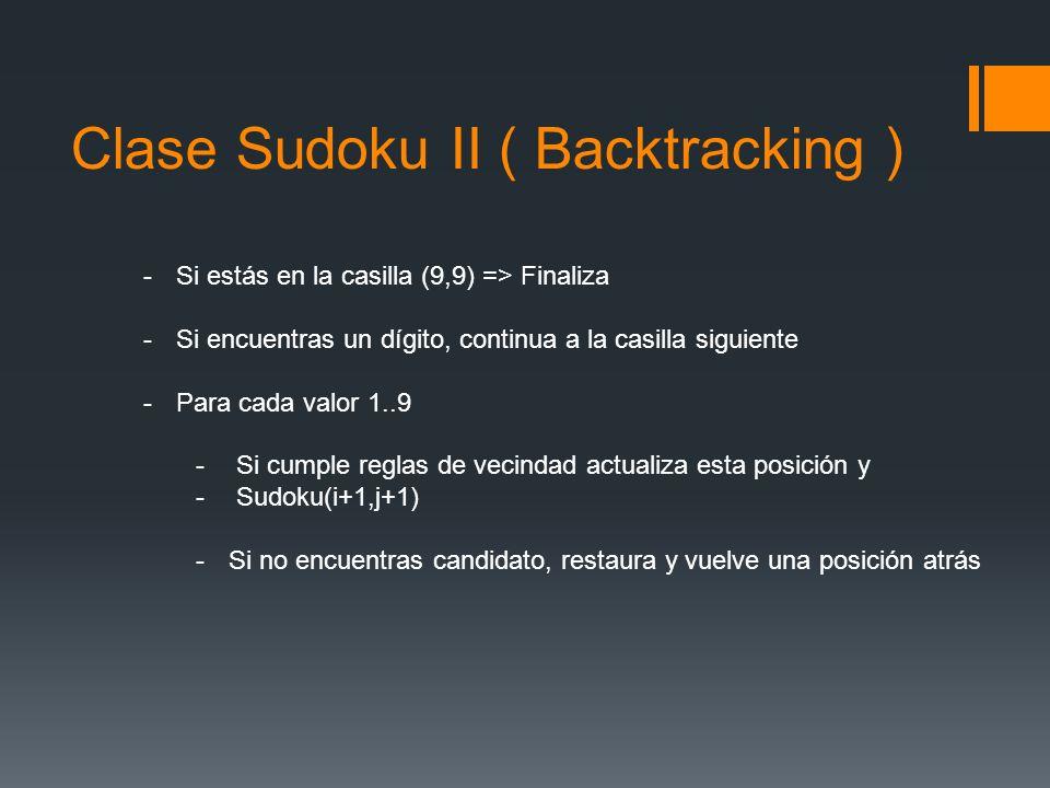 Clase Sudoku II ( Backtracking ) -Si estás en la casilla (9,9) => Finaliza -Si encuentras un dígito, continua a la casilla siguiente -Para cada valor