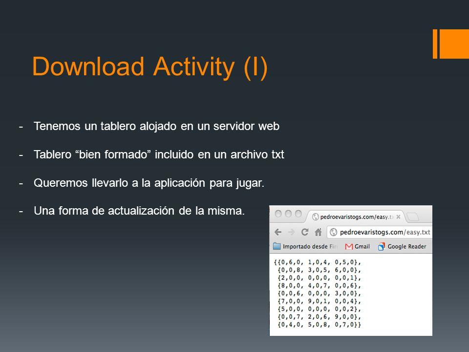 Download Activity (I) -Tenemos un tablero alojado en un servidor web -Tablero bien formado incluido en un archivo txt -Queremos llevarlo a la aplicaci
