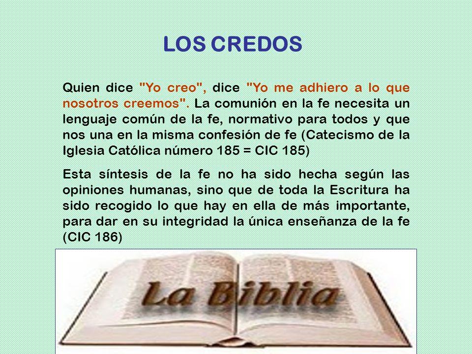 La Iglesia resumió en fórmulas llamadas credos las enseñanzas de Jesús. Cada credo resume el tesoro recibido de los apóstoles y facilita la confesión