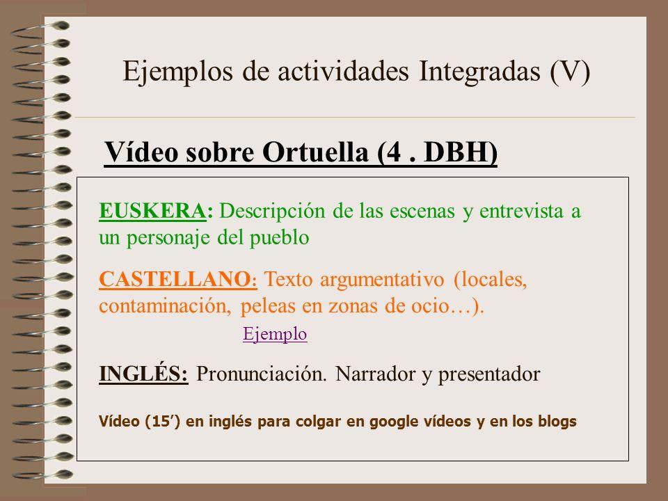 Ejemplos de actividades Integradas (V) Vídeo sobre Ortuella (4. DBH) CASTELLANO : Texto argumentativo (locales, contaminación, peleas en zonas de ocio