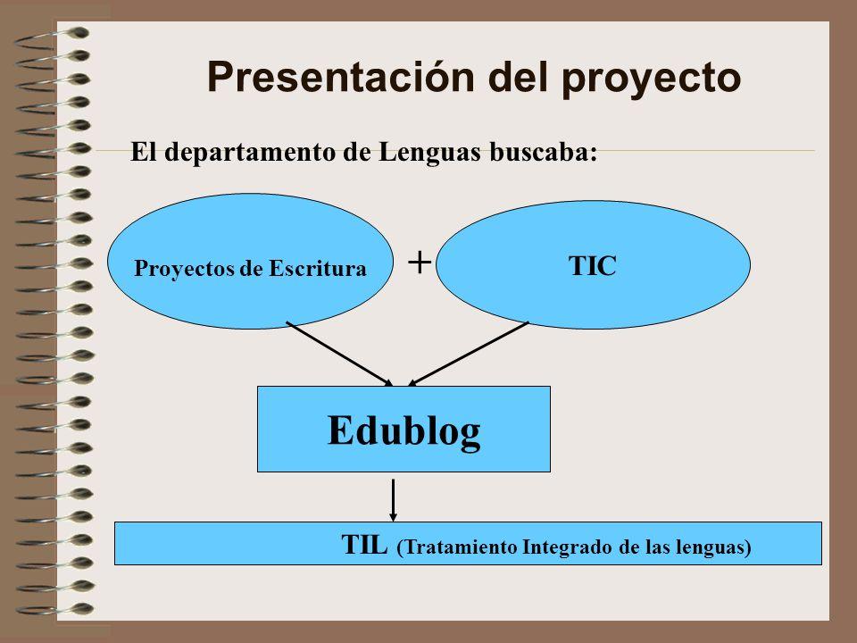 Presentación del proyecto Edublog Proyectos de Escritura + TIC TIL (Tratamiento Integrado de las lenguas) El departamento de Lenguas buscaba:
