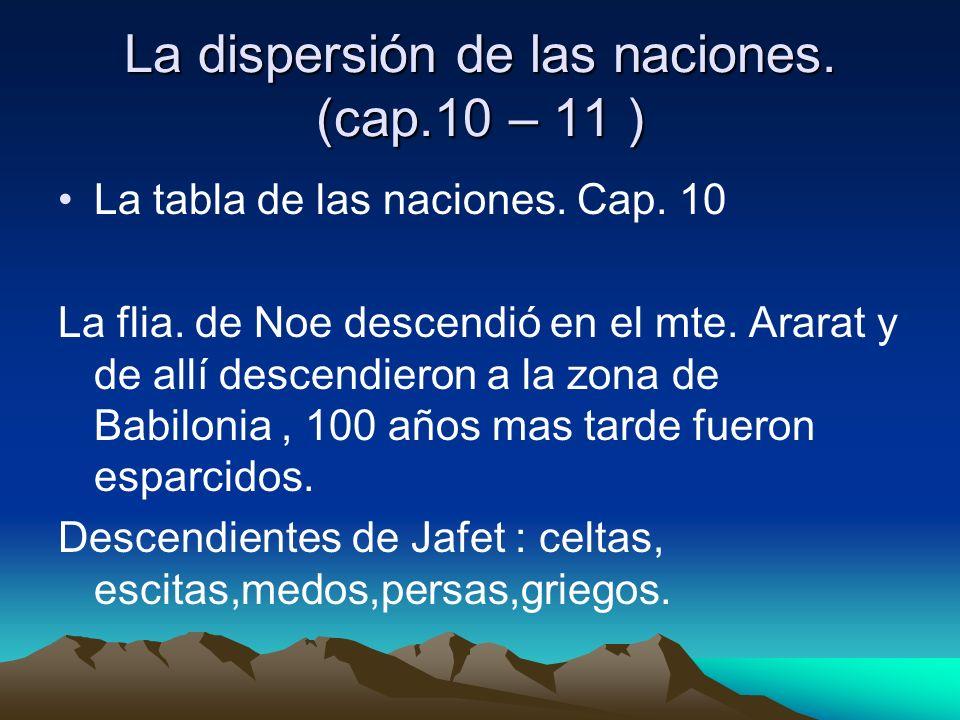 La dispersión de las naciones. (cap.10 – 11 ) La tabla de las naciones. Cap. 10 La flia. de Noe descendió en el mte. Ararat y de allí descendieron a l