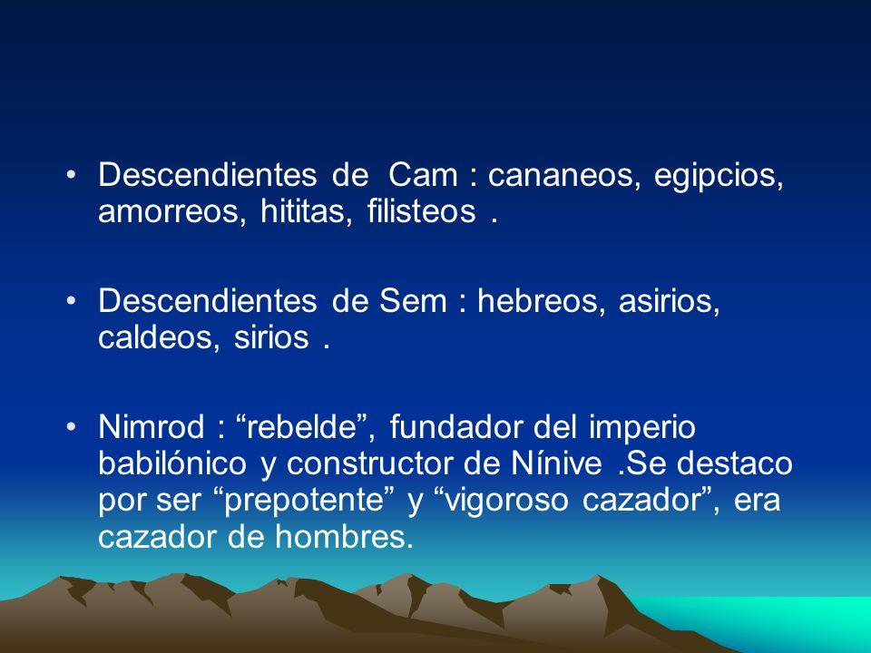Descendientes de Cam : cananeos, egipcios, amorreos, hititas, filisteos. Descendientes de Sem : hebreos, asirios, caldeos, sirios. Nimrod : rebelde, f