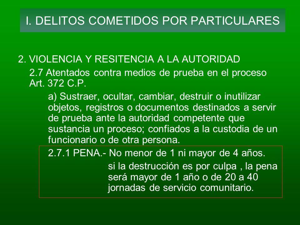 2. VIOLENCIA Y RESITENCIA A LA AUTORIDAD 2.7 Atentados contra medios de prueba en el proceso Art. 372 C.P. a) Sustraer, ocultar, cambiar, destruir o i