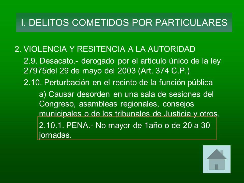 2. VIOLENCIA Y RESITENCIA A LA AUTORIDAD 2.9. Desacato.- derogado por el articulo único de la ley 27975del 29 de mayo del 2003 (Art. 374 C.P.) 2.10. P