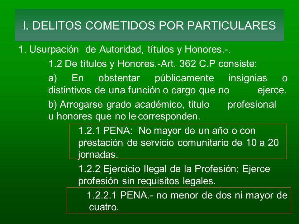1. Usurpación de Autoridad, títulos y Honores.-. 1.2 De títulos y Honores.-Art. 362 C.P consiste: a) En obstentar públicamente insignias o distintivos