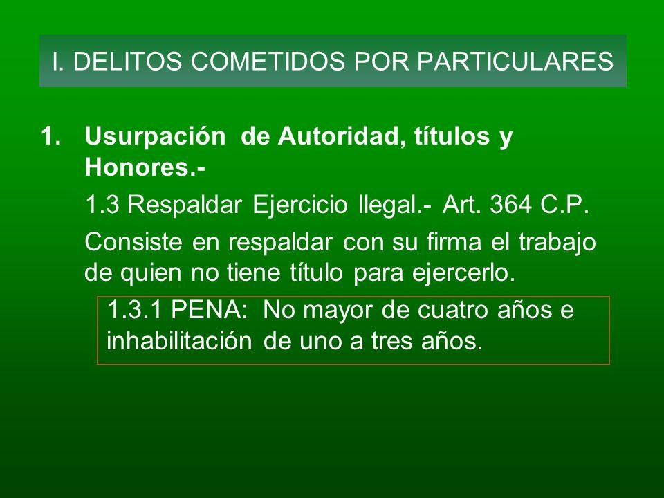 1.Usurpación de Autoridad, títulos y Honores.- 1.3 Respaldar Ejercicio Ilegal.- Art. 364 C.P. Consiste en respaldar con su firma el trabajo de quien n