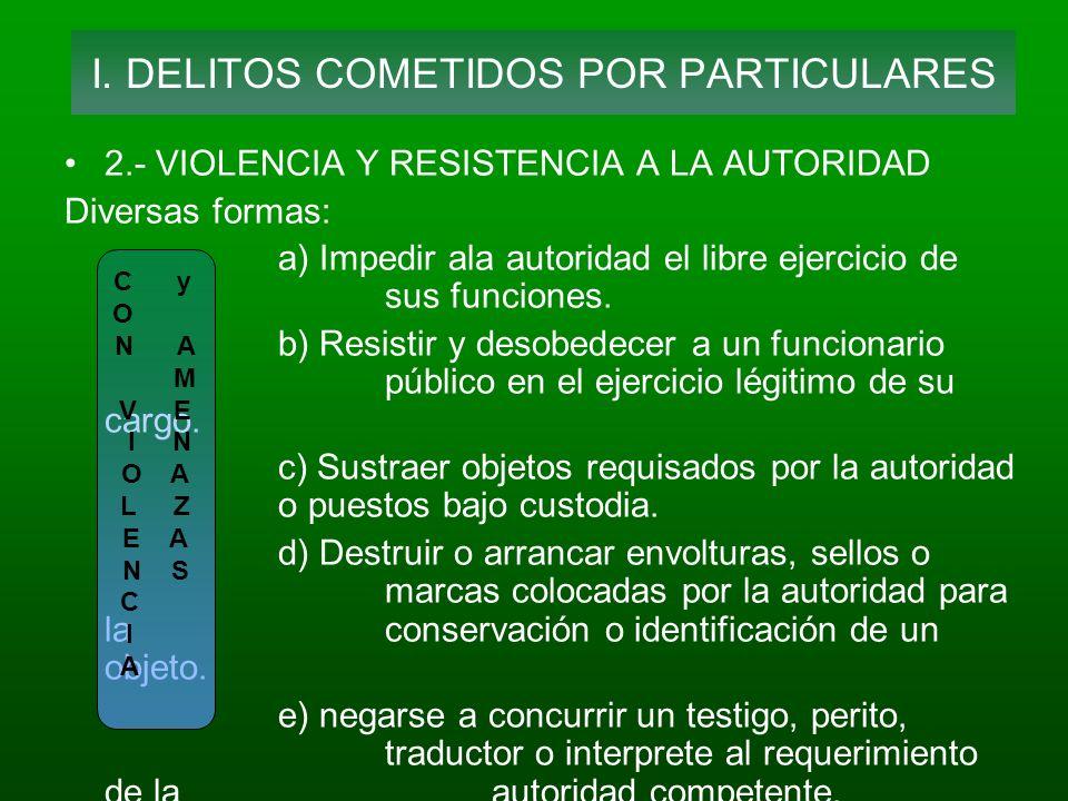 2.- VIOLENCIA Y RESISTENCIA A LA AUTORIDAD Diversas formas: a) Impedir ala autoridad el libre ejercicio de sus funciones. b) Resistir y desobedecer a