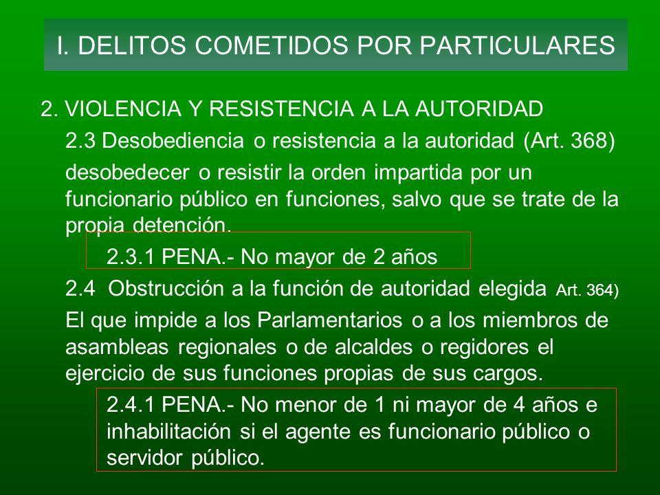 2. VIOLENCIA Y RESISTENCIA A LA AUTORIDAD 2.3 Desobediencia o resistencia a la autoridad (Art. 368) desobedecer o resistir la orden impartida por un f