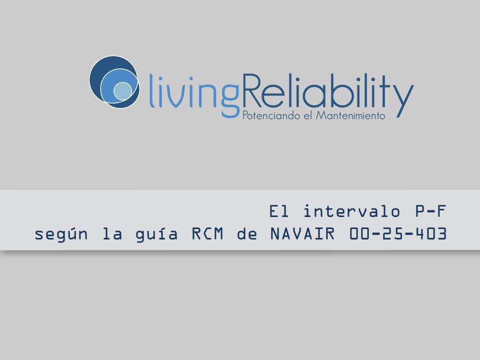 Intervalo P-F NAVAIR A continuación se describen los métodos NAVAIR [1] basados en el CBM clásico: 1.Determinación del Intervalo P-F, y 2.Determinación del Intervalo de Inspección [1] Guía NAVAIR 00-25-403 RCMNAVAIR 00-25-403 RCM