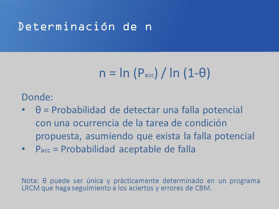 Determinación de n n = ln (P acc ) / ln (1-θ) Donde: θ = Probabilidad de detectar una falla potencial con una ocurrencia de la tarea de condición prop