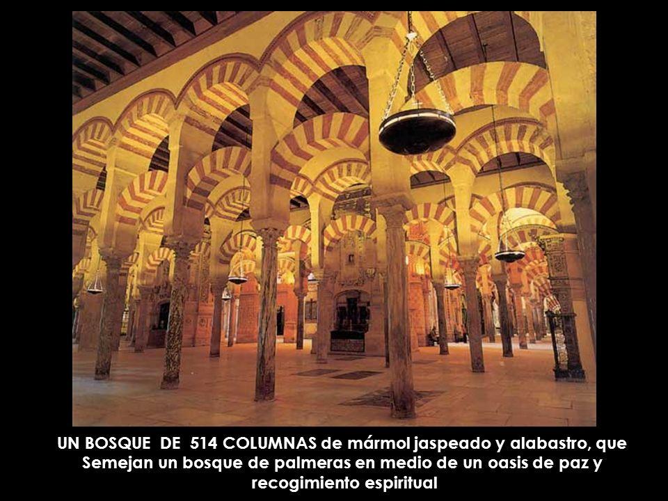 UN BOSQUE DE 514 COLUMNAS de mármol jaspeado y alabastro, que Semejan un bosque de palmeras en medio de un oasis de paz y recogimiento espiritual