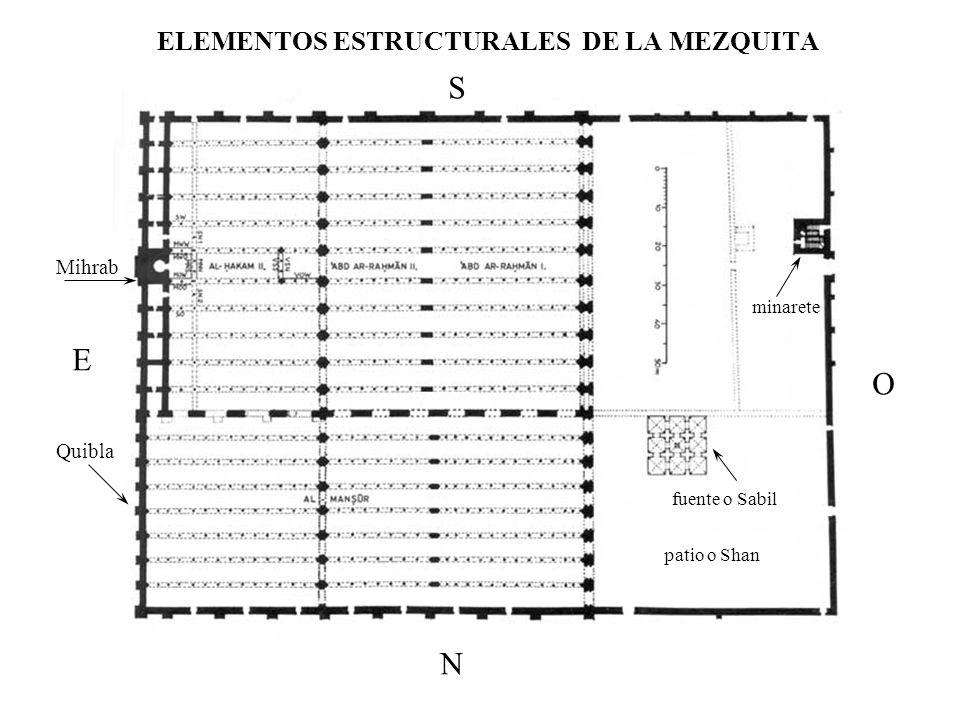 ELEMENTOS ESTRUCTURALES DE LA MEZQUITA patio o Shan fuente o Sabil minarete Mihrab Quibla S N E O