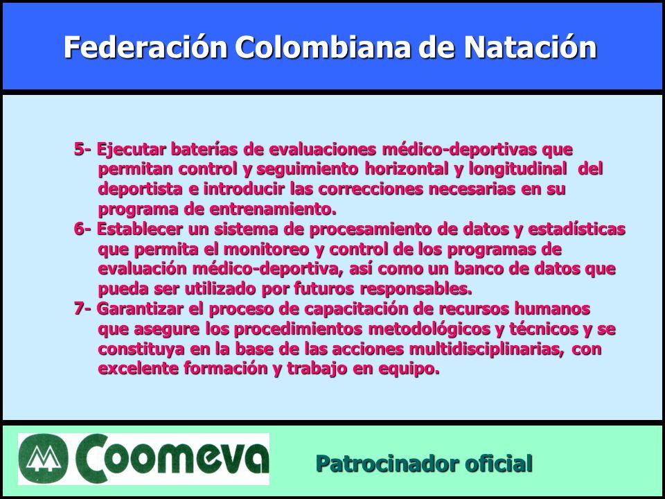 Federación Colombiana de Natación Patrocinador oficial Patrocinador oficial 5- Ejecutar baterías de evaluaciones médico-deportivas que permitan contro