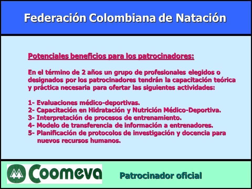 Federación Colombiana de Natación Patrocinador oficial Patrocinador oficial Potenciales beneficios para los patrocinadores: En el término de 2 años un