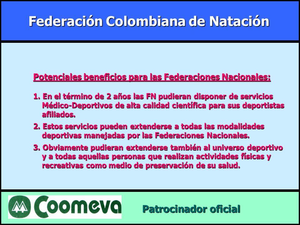 Federación Colombiana de Natación Patrocinador oficial Patrocinador oficial Potenciales beneficios para las Federaciones Nacionales: 1. En el término