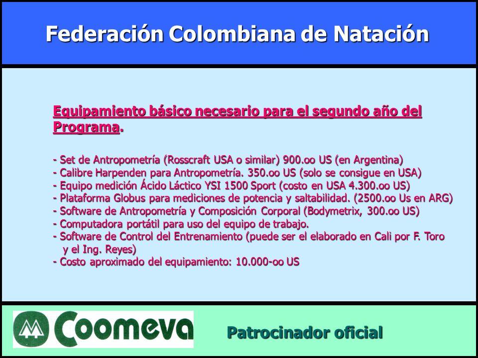 Federación Colombiana de Natación Patrocinador oficial Patrocinador oficial Equipamiento básico necesario para el segundo año del Programa. - Set de A
