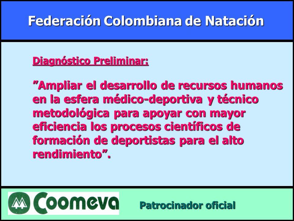 Federación Colombiana de Natación Patrocinador oficial Patrocinador oficial Diagnóstico Preliminar: Ampliar el desarrollo de recursos humanos en la es