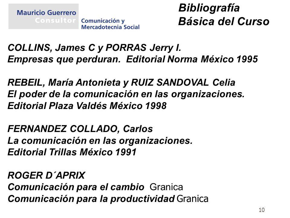 10 Bibliografía Básica del Curso COLLINS, James C y PORRAS Jerry I. Empresas que perduran. Editorial Norma México 1995 REBEIL, María Antonieta y RUIZ