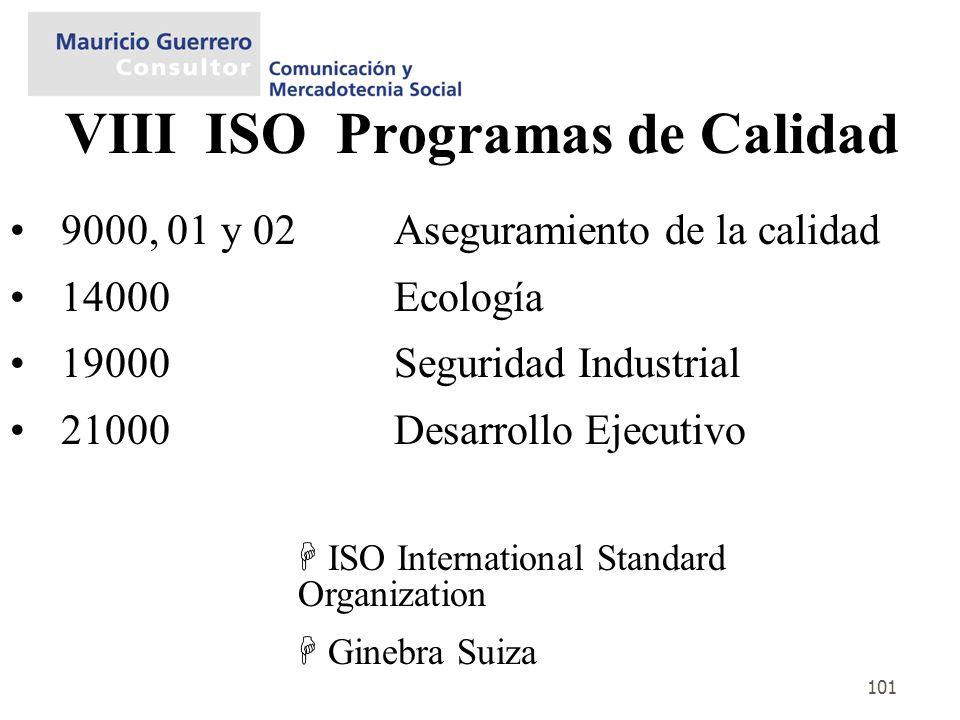 101 VIII ISO Programas de Calidad 9000, 01 y 02 Aseguramiento de la calidad 14000 Ecología 19000Seguridad Industrial 21000 Desarrollo Ejecutivo ISO In