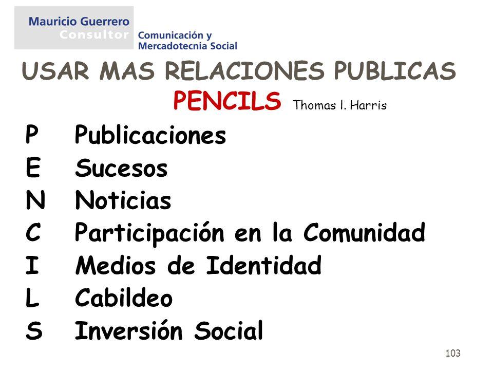 103 PENCILS Thomas l. Harris P Publicaciones ESucesos NNoticias CParticipación en la Comunidad IMedios de Identidad LCabildeo S Inversión Social USAR