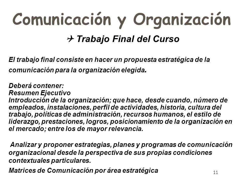 11 Comunicación y Organización Trabajo Final del Curso El trabajo final consiste en hacer un propuesta estratégica de la comunicación para la organiza