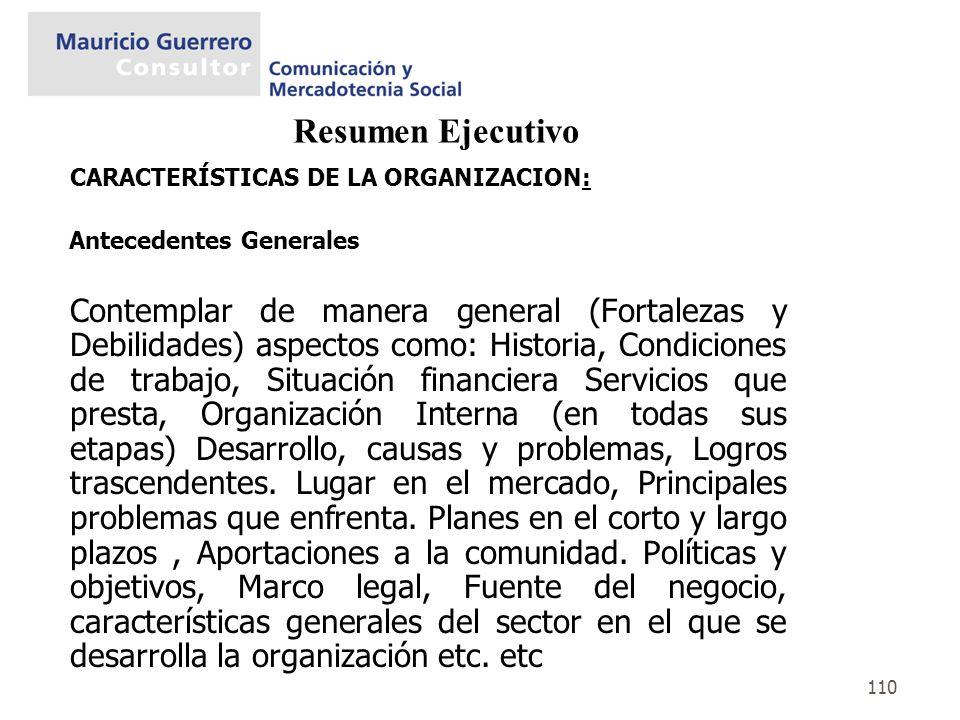 110 Resumen Ejecutivo CARACTERÍSTICAS DE LA ORGANIZACION: Antecedentes Generales Contemplar de manera general (Fortalezas y Debilidades) aspectos como