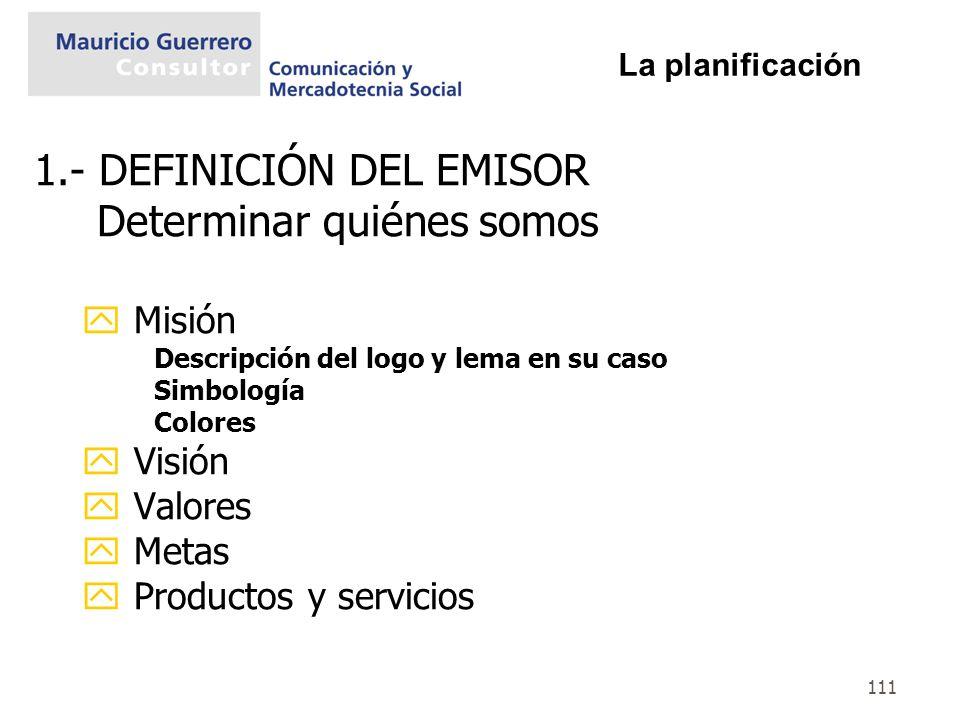 111 1.- DEFINICIÓN DEL EMISOR Determinar quiénes somos y Misión Descripción del logo y lema en su caso Simbología Colores y Visión y Valores y Metas y