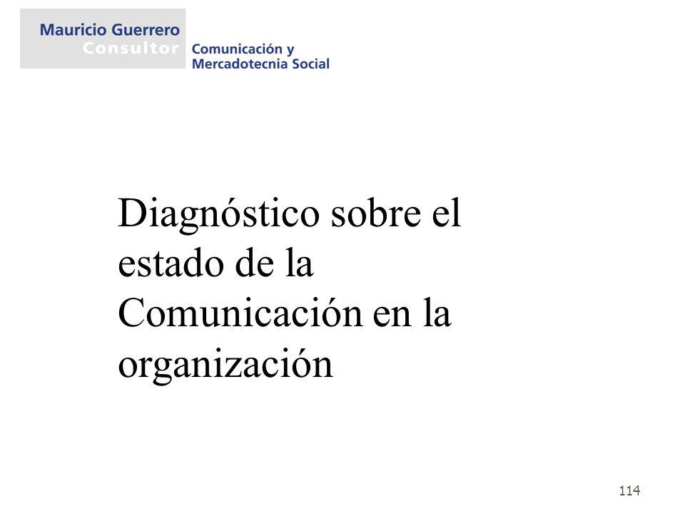 114 Diagnóstico sobre el estado de la Comunicación en la organización