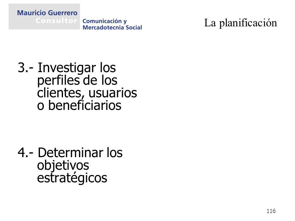 116 La planificación 3.- Investigar los perfiles de los clientes, usuarios o beneficiarios 4.- Determinar los objetivos estratégicos