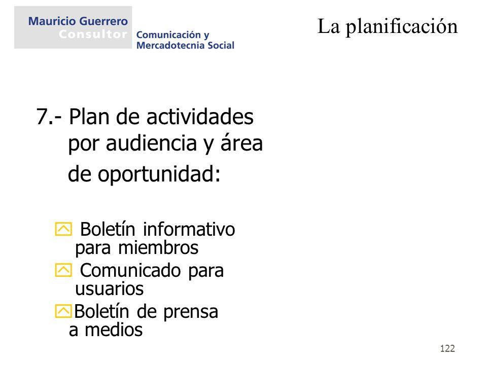 122 La planificación 7.- Plan de actividades por audiencia y área de oportunidad: y Boletín informativo para miembros y Comunicado para usuarios yBole