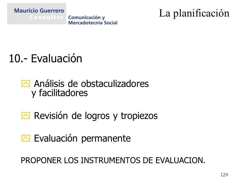 124 La planificación 10.- Evaluación y Análisis de obstaculizadores y facilitadores y Revisión de logros y tropiezos y Evaluación permanente PROPONER