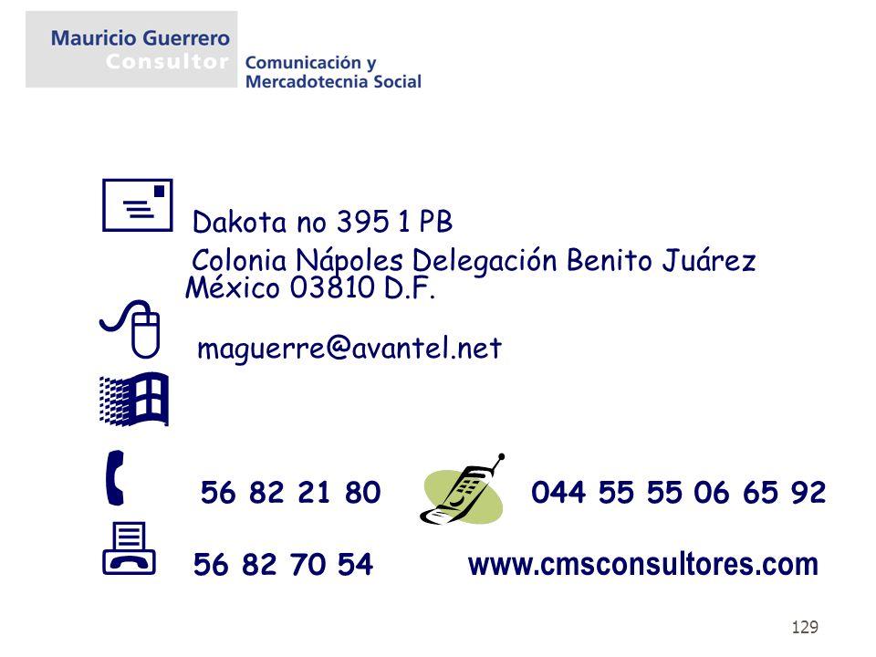 129 Dakota no 395 1 PB Colonia Nápoles Delegación Benito Juárez México 03810 D.F. maguerre@avantel.net 56 82 21 80 044 55 55 06 65 92 56 82 70 54 www.
