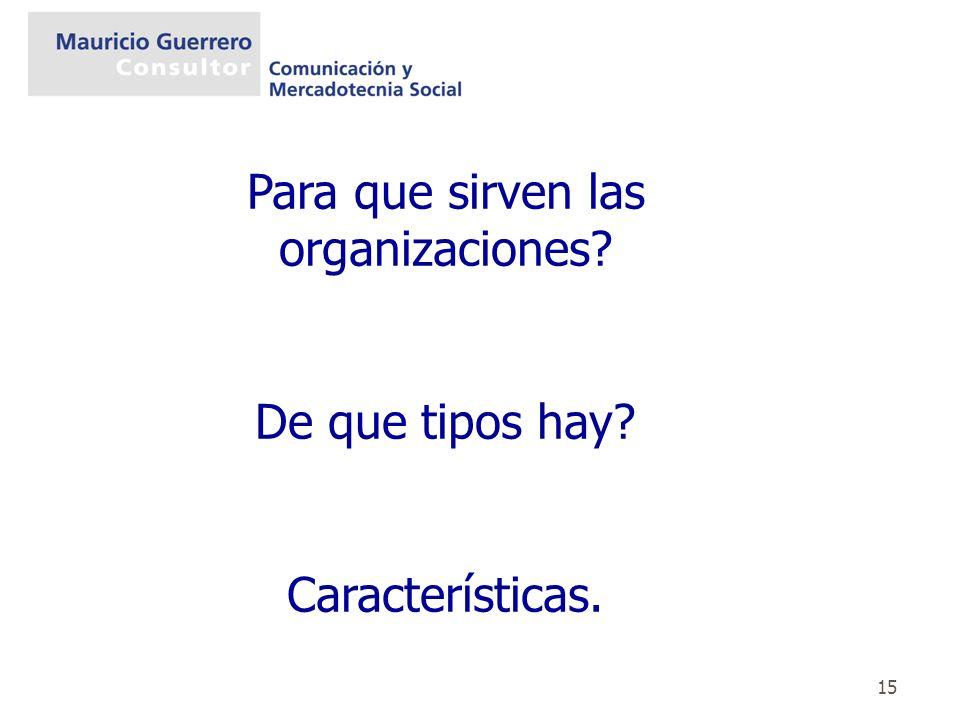 15 Para que sirven las organizaciones? De que tipos hay? Características.