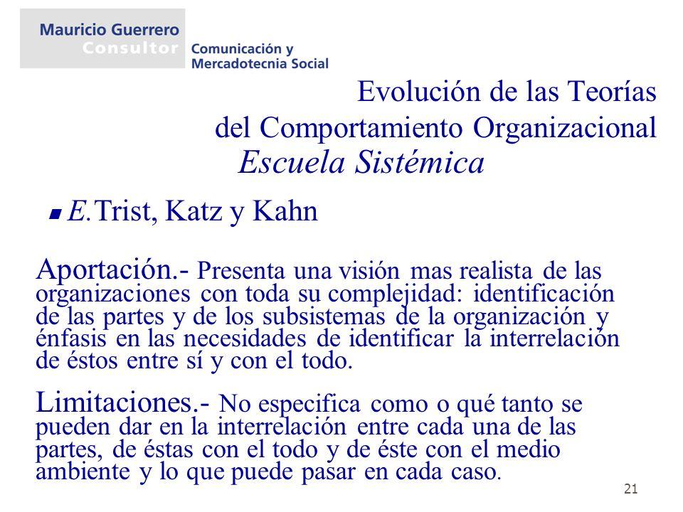 21 Evolución de las Teorías del Comportamiento Organizacional Escuela Sistémica E.Trist, Katz y Kahn Aportación.- Presenta una visión mas realista de