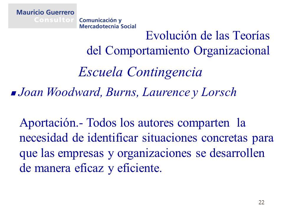 22 Evolución de las Teorías del Comportamiento Organizacional Escuela Contingencia Joan Woodward, Burns, Laurence y Lorsch Aportación.- Todos los auto