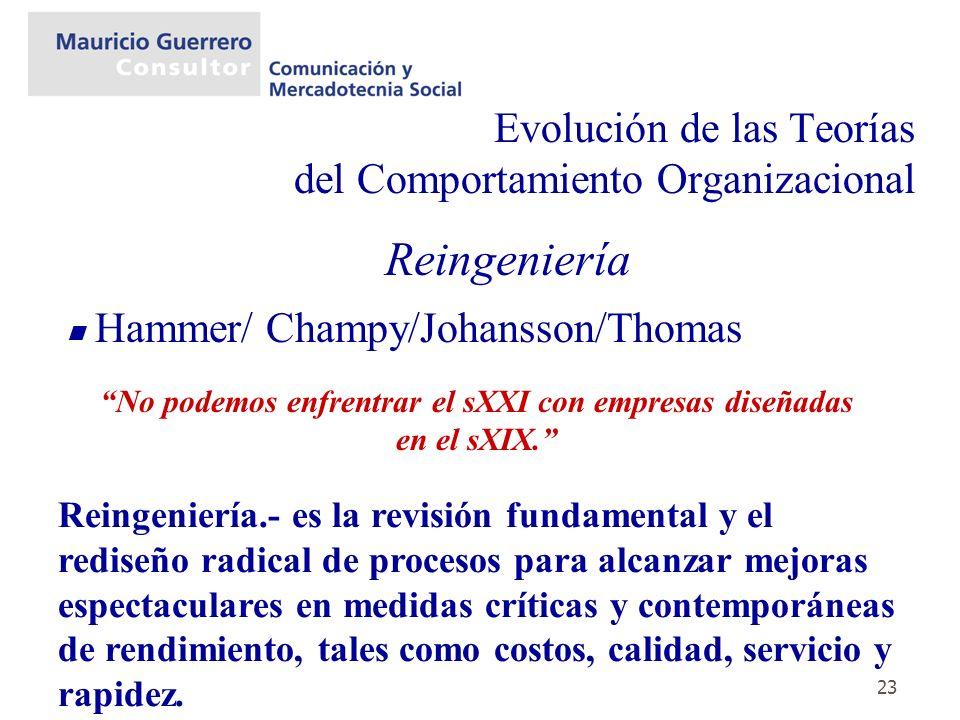 23 Evolución de las Teorías del Comportamiento Organizacional Reingeniería Hammer/ Champy/Johansson/Thomas Reingeniería.- es la revisión fundamental y