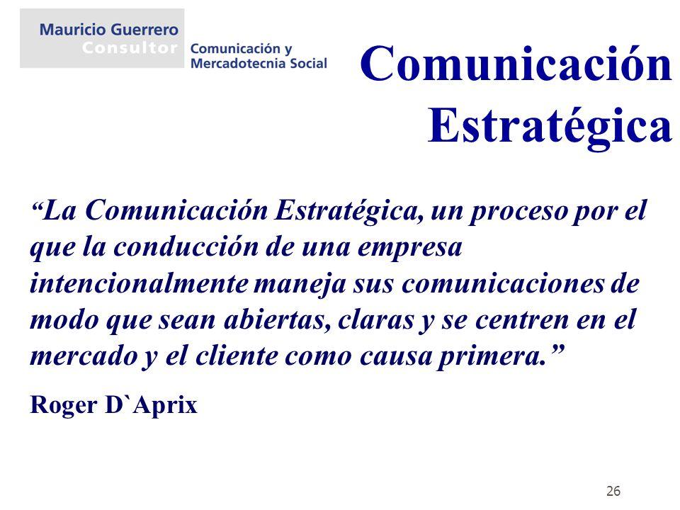 26 Comunicación Estratégica La Comunicación Estratégica, un proceso por el que la conducción de una empresa intencionalmente maneja sus comunicaciones